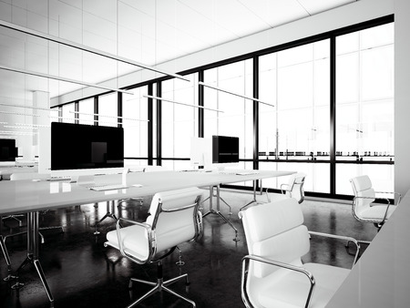 computers office: Image workspace loft with panoramic windows.Generic design computers and generic white furniture in contemporary conference room meeting.Open space office for coworking.