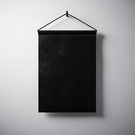 advertising design: Empty blank black pennant hanging concrete wall. Ready for your business information. High detailed texture material. Soft shadows. Abstract background.
