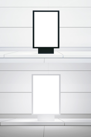 Concept picture double white digital panel. Black empty canvas lightbox city street. Blank white wall background. Empty, ready for your business information.