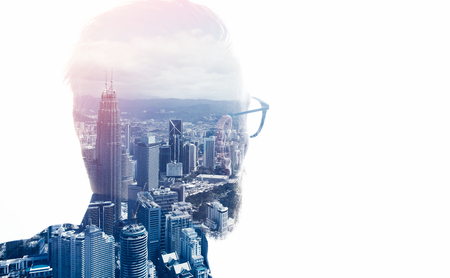councilor: Photo of stylish bearded lawyer wearing trendy suit and looking city. Double exposure, panoramic view contemporary megalopolis background. Space for your business message. Isolated white.