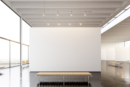 Picture exposition modern gallery,open space.Blank white empty canvas hanging contemporary art museum. Interior loft style with concrete floor,light spots and generic design furniture. Archivio Fotografico