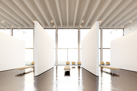 art museum: Photo exposition space modern gallery.Blank white empty canvas hanging contemporary art museum. Interior loft style with concrete floor,light spots and generic design furniture Stock Photo