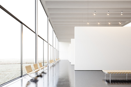 Photo exposition modern gallery,open space.White empty canvas hanging contemporary art museum.Interior loft style with concrete floor,light spots,generic design furniture and building.