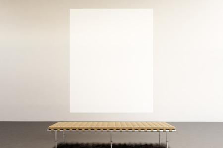 arte moderno: Foto espacio de exposición gallery.Huge moderna blanco lienzo en blanco que cuelga estilo loft museum.Inter arte contemporáneo con suelo de cemento. Imagínese muebles de diseño genérico y la construcción. Foto de archivo