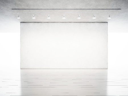 Photo exhibition modern gallery. Blank concrete wall in contemporary art museum. Interior industrial style with white wood floor. Spotlights hanging on the ceiling.