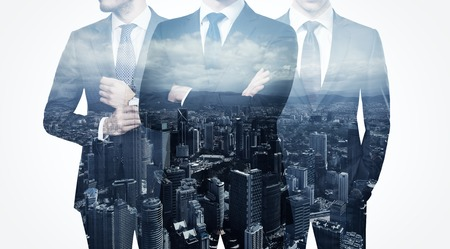 councilor: Photo of trio stylish adult businessman wearing trendy suit. Double exposure, panoramic view contemporary city background. Man power, leadership, isolated on white.