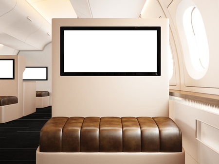 private information: Photo interior of private airplane. Empty leather chair. Blank digital screen ready for your information. Luxury jet for business travel. Horizontal mockup. Stock Photo