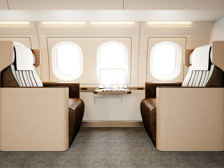Photo interior of luxury private airplane. Empty leather chair, modern generic design laptop table. Image ready for your business information. Horizontal mockup.