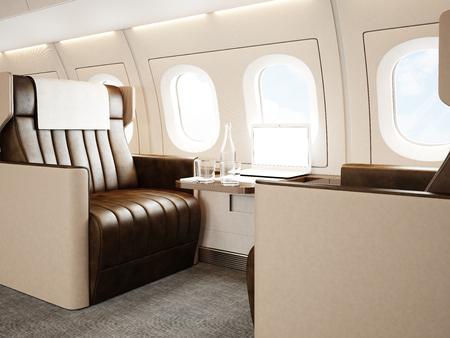 Foto interior del avión privado de lujo. silla de cuero vacía, moderna mesa de diseño portátil genérico. pantalla en blanco listo para su información del negocio. maqueta horizontal. Foto de archivo - 54558395