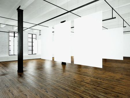 canvas: Loft expo interior in modern building.Open space studio.Empty white canvas hanging.Wood floor, bricks wall,panoramic windows.Blank frames ready for bussiness information.Horizontal.