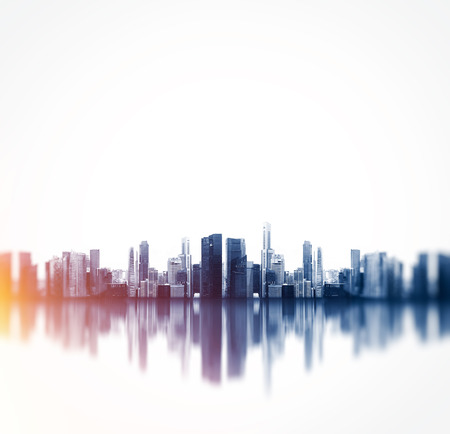 square: Panoramic view of a megalopolis with reflection.