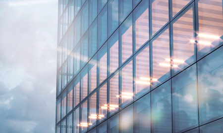 bank interior: Photo of skyscraper tower. Modern office interior in evening time.Panoramic windows facade background, contemporary business center.Empty meeting room.