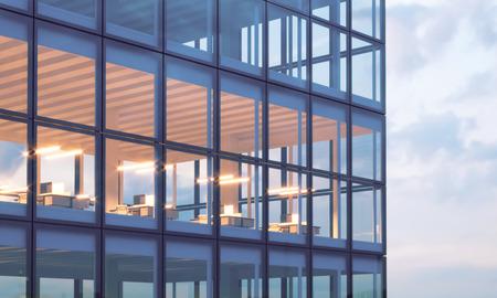 Foto de la torre rascacielos. oficina de piso alto, interior en tiempo de la tarde. Panorámica de fondo ventanas de fachada, centro de negocios contemporáneo. reuniones vacía room.Real maqueta horizontal, bengalas.