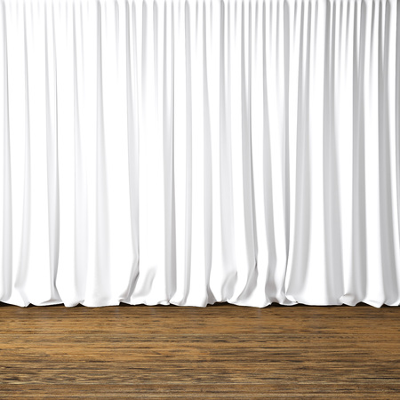 curtain: Concept picture of highly detailed white curtains. Photo of backstage with textile curtains and wood floor. Abstract interior background. Square mockup.