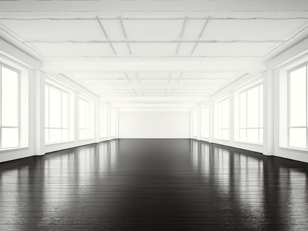 wood floor: Photo of open space office modern building.Empty interior loft style with black wood floor and panoramic windows.Abstract background,blank walls. Ready for business info. Stock Photo