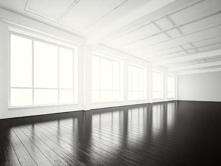 Image of open space office modern building.Empty interior loft style with concrete floor and panoramic windows.Abstract background. Ready for your business information.Horizontal mockup.