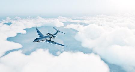 chorro: Foto de lujo negro diseño genérico avión privado volando sobre la tierra. cielo azul con nubes blancas vacías en el fondo. el concepto de viaje de negocios. Horizontal. Foto de archivo
