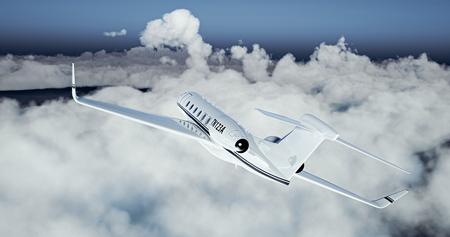 chorro: Foto de blanco de lujo diseño genérico avión privado volando sobre la tierra. cielo azul vacía con las nubes blancas en el fondo. Concepto de viajes de negocios. Horizontal.