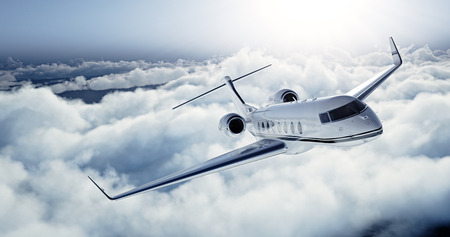 Realistic photo of White Luxury generic design private jet flying over the earth. Empty blue sky with white clouds at background. Business Travel Concept. Horizontal.