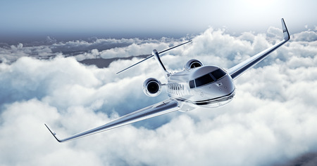 Realistic image of White Luxury generic design private jet flying over the earth. Empty blue sky with white clouds at background. Business Travel Concept. Horizontal.