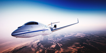 first plane: Realistic photo of white generic design private Jet flying over the mountains. Empty blue sky with sun at background.Business Travel by modern Luxury Aircraft.Horizontal.Closeup image.