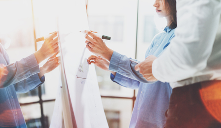 Business meeting office.Photo woman writing statistics data chart board.Account manager and crew working with new startup project.Idea presentation,analyze marketing plans.Double reflection effect Stock Photo