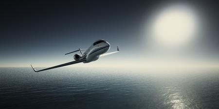 Foto van White Luxury Generic Design Privé Jet Flying in Sky bij zonsopgang. Blauwe Oceaan en Zonachtergrond. Business Travel Picture.Horizontal, Film Effect. 3D-weergave Stockfoto