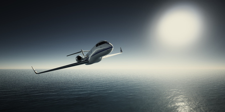 Photo of White Luxury Generic Design Private Jet Flying in Sky at sunrise. Blue Ocean and Sun Background. Business Travel Picture.Horizontal,Film Effect. 3D rendering Stock Photo