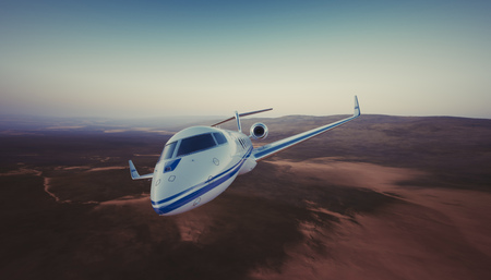 first plane: Photo of White Luxury Generic Design Private Jet Flying in Sky under the Earth Surface. Uninhabited Desert Mountains Background. Business Travel Picture. Wide. Film Effect. 3D rendering Stock Photo