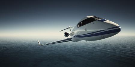chorro: Foto de lujo blanco genérico Diseño Private Jet volando en el cielo bajo la superficie del agua. Fondo azul del océano. Imagen negocio viaje. Amplio. Efecto película. Representación 3D Foto de archivo
