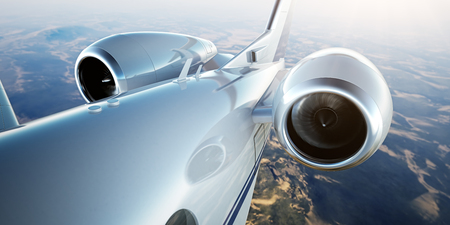 Photo of White Luxury Generic Design Private Jet Flying in Blue Sky at sunset.Closeup Picture of two Reactive Turbine.Mans world.Full power.Business Travel Picture.Horizontal,Film Effect. 3D rendering