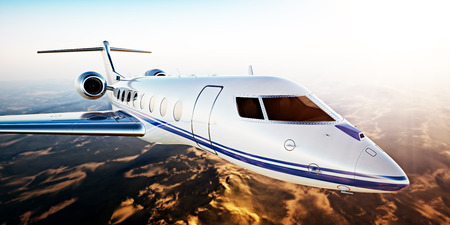 Realistic Photo of White Luxury Generic Design Private Jet Flying in Blue Sky at Sunset.Uninhabited Desert Mountains Background.Business Travel Picture.Horizontal,Film Effect. 3D rendering