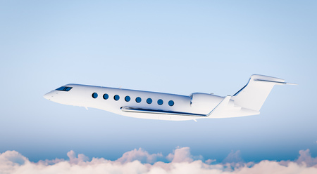 private airplane: Photo White Matte Luxury Generic Design Private Airplane Flying in Blue Sky.Mockup Isolated on Blurred Background.Business Travel Picture. Left Side view. Horizontal. 3D rendering Stock Photo