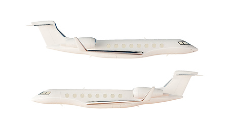 private airplane: Photo Glossy Luxury Generic Design Private Airplane Model. Clear Mockup Isolated Blank White Background.Business Travel Picture.Left Right Side View. Horizontal,. 3D rendering