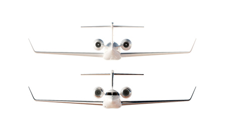 private airplane: Photo Glossy Luxury Generic Design Private Airplane Model. Clear Mockup Isolated Blank White Background.Business Travel Picture.Left Back Front Side View. Horizontal,. 3D rendering