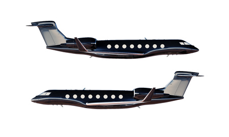 private airplane: Photo Black Glossy Luxury Generic Design Private Airplane Model. Clear Mockup Isolated Blank White Background.Business Travel Picture.Left Right Side View. Horizontal,. 3D rendering