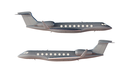 Photo Gray Matte Luxury Generic Design Private Airplane Model. Clear Mockup Isolated Blank White Background.Business Travel Picture.Left Right Side View. Horizontal,. 3D rendering