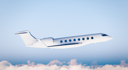 private airplane: Photo White Matte Luxury Generic Design Private Airplane Flying in Blue Sky.Mockup Isolated on Blurred Background.Business Travel Picture. Right Side view. Horizontal,. 3D rendering