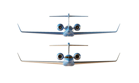 private airplane: Photo Blue Glossy Luxury Generic Design Private Airplane Model. Clear Mockup Isolated Blank White Background.Business Travel Picture. Front Back Side View. Horizontal. 3D rendering
