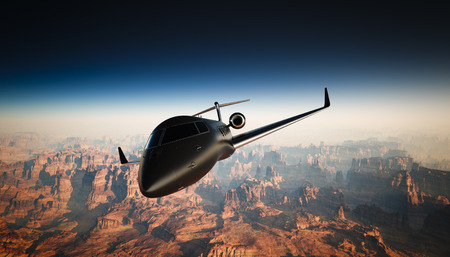 illuminator: Photo of Black Matte Luxury Generic Design Private Jet Flying in Sky under the Earth Surface. Grand Canyon Background. Business Travel Picture. Horizontal, front angle view. Film Effect. 3D rendering Stock Photo
