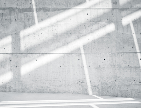 Horizontal Photo Blank Grungy and Smooth Bare Concrete Wall with White Sunrays Reflecting on Light Surface. Empty Abstract background.