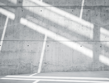 Horizontal Image Blank Grungy Smooth Bare Concrete Wall with  Sunrays Reflecting on Surface. Empty Abstract background. Black and White.