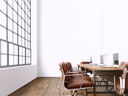 salle de réunion moderne Intérieur avec vue panoramique windows.Blank Blanc Toile sur Wall.Generic design Fauteuil et ordinateurs portables dans contemporain mockup conférence de room.Horizontal. rendu 3D