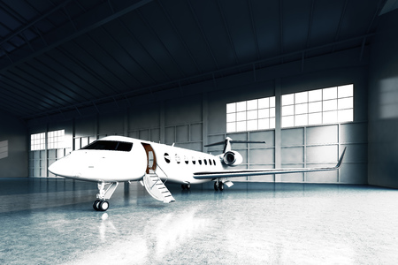 Photo of White Matte Luxury Generic Design Private Jet parking in hangar airport. Concrete floor. Business Travel Picture. Horizontal, front angle view. Film Effect. 3D rendering Standard-Bild