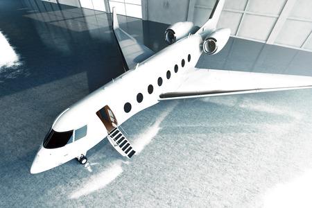 chorro: Foto del diseño genérico de aparcamiento privado del jet brillante blanco de lujo en el aeropuerto de hangar. Piso de concreto. Imagen negocio viaje. , Ángulo de vista superior horizontal. Efecto película. Representación 3D
