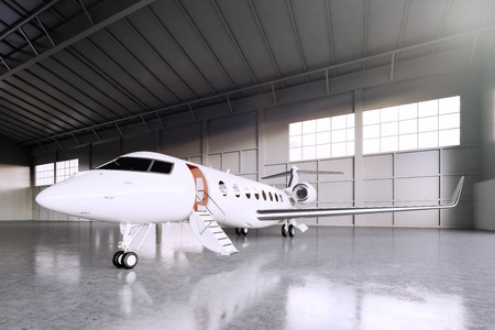 Image of White Matte Luxury Generic Design Private Jet parking in hangar airport. Concrete floor. Business Travel Picture. Horizontal, front angle view. Film Effect. 3D rendering