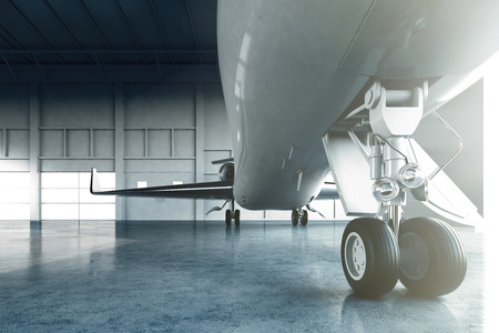 first plane: Photo of White Glossy Luxury Generic Design Private Jet parking in hangar airport. Business Travel Picture. Horizontal, view from under a cabin in the front landing gear. Film Effect. 3D rendering