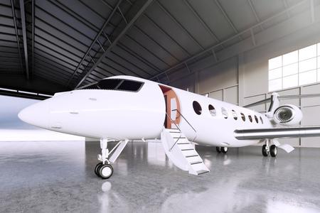 Afbeelding van White Matte Luxury Generic Ontwerp Private Jet parkeren in de luchthaven hangar. Betonnen vloer. Business Travel Picture. Horizontaal, front hoek bekijken. Film Effect. 3D-rendering