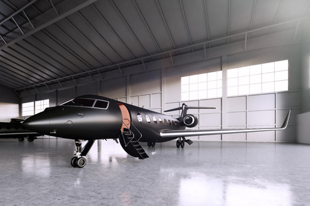 Photo of Black Matte Luxury Generic Design Private Jet parking in hangar airport. Concrete floor. Business Travel Picture. Horizontal, front angle view. Film Effect. 3D rendering