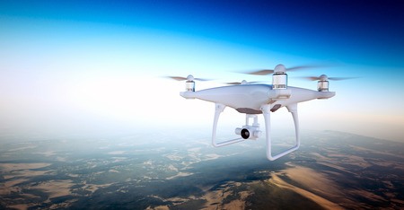 Photo White Matte Generic Design Air Drone with action camera Flying Sky under Earth Surface.Uninhabited Desert Mountains Sunset Background.Horizontal,front top angle view.Film Effect. 3D rendering